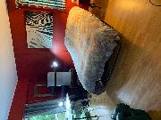 Furnished one bedroom, very spacious . Fridge, microwave .